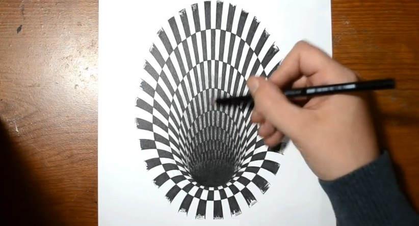 Drawn optical illusion hole WordlessTech Illusion How Hole draw