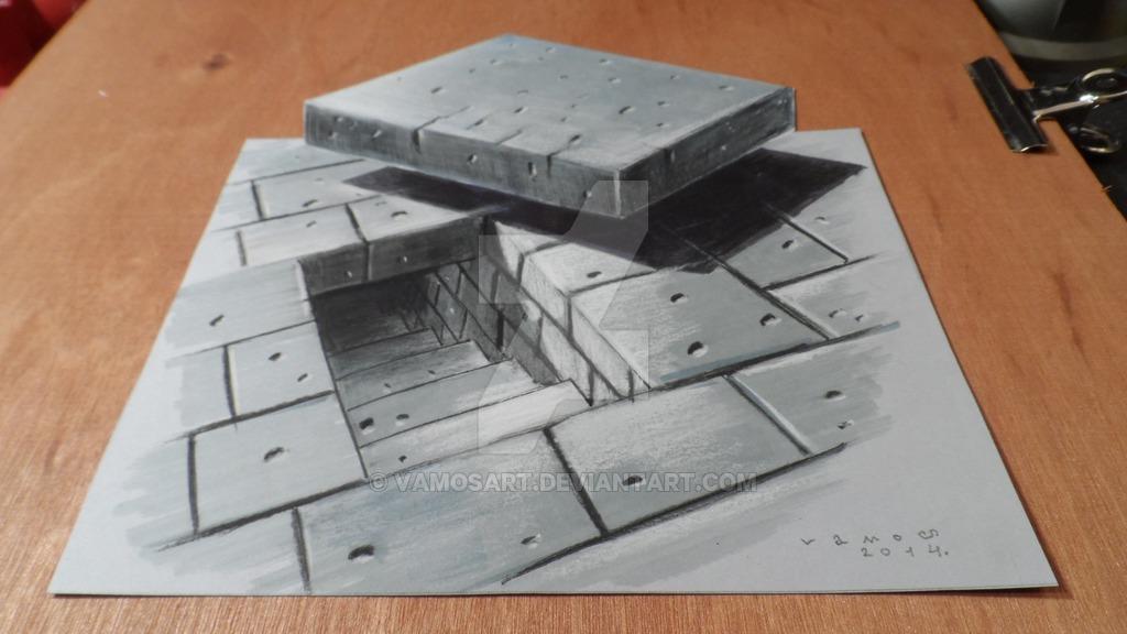Drawn optical illusion hole  Design about A Art