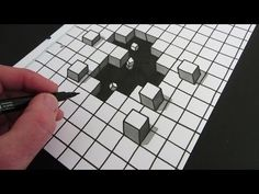 Drawn optical illusion hole in wall A YouTube Draw lines 3D