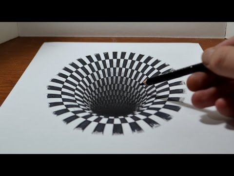 Drawn optical illusion hole in wall An DesignTAXI How Made Black