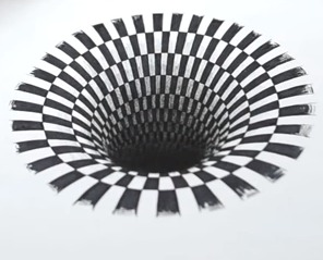 Drawn optical illusion hole in wall Hole a Making 3D Illusion