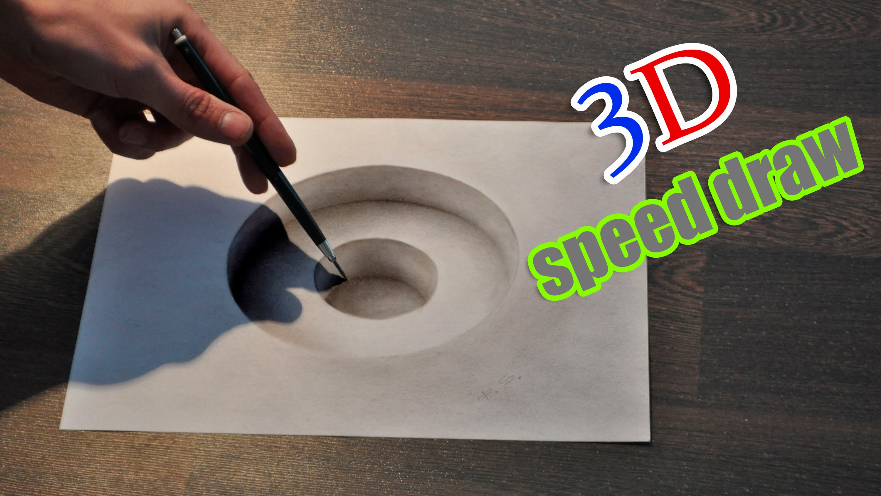 Drawn optical illusion hole in wall Hole/ 3D  painting anamorphic