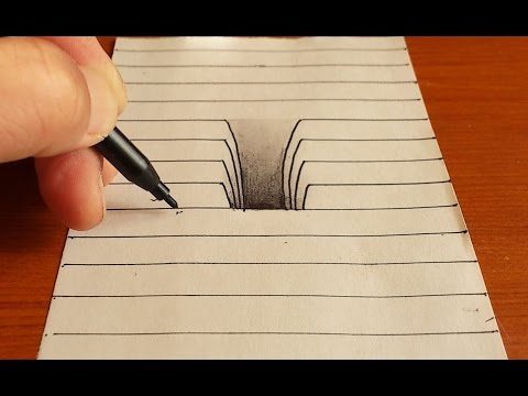 Drawn optical illusion hole in wall 3D Drawing Drawing To Very