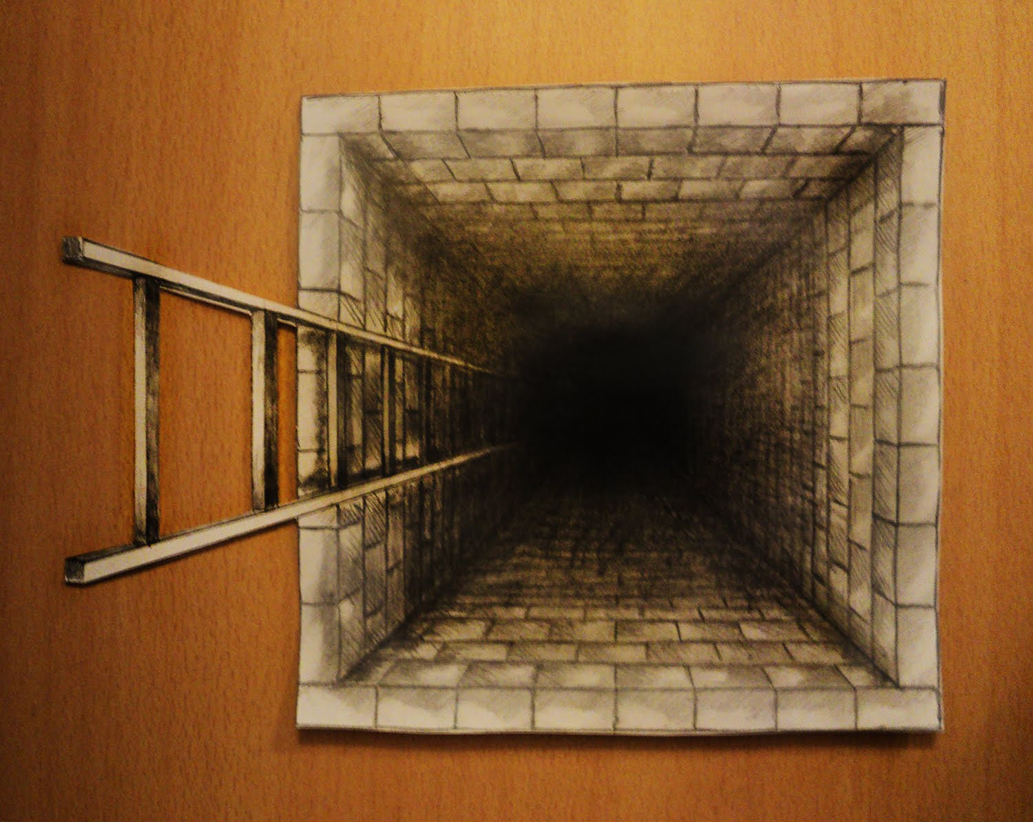Drawn optical illusion hole in wall One draw draw to with
