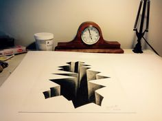 Drawn optical illusion ice 3D in Optical Hole Cracked