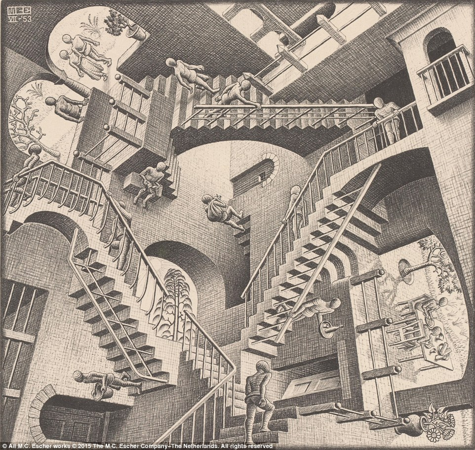 Drawn optical illusion incredible Relativity geometric well questioning Escher's
