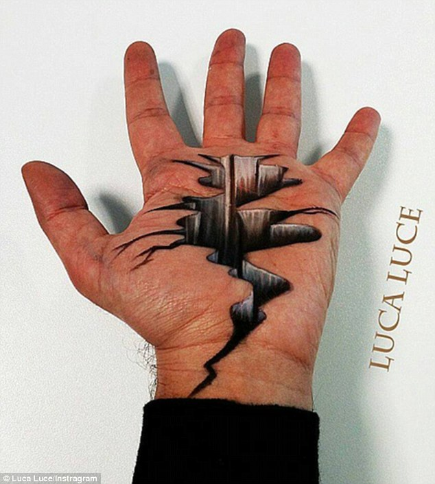 Drawn optical illusion incredible Which hand cracked of his