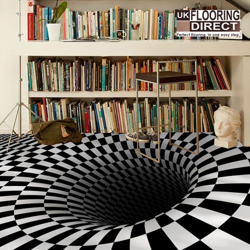 Drawn optical illusion interior design Art interior flooring become 25+