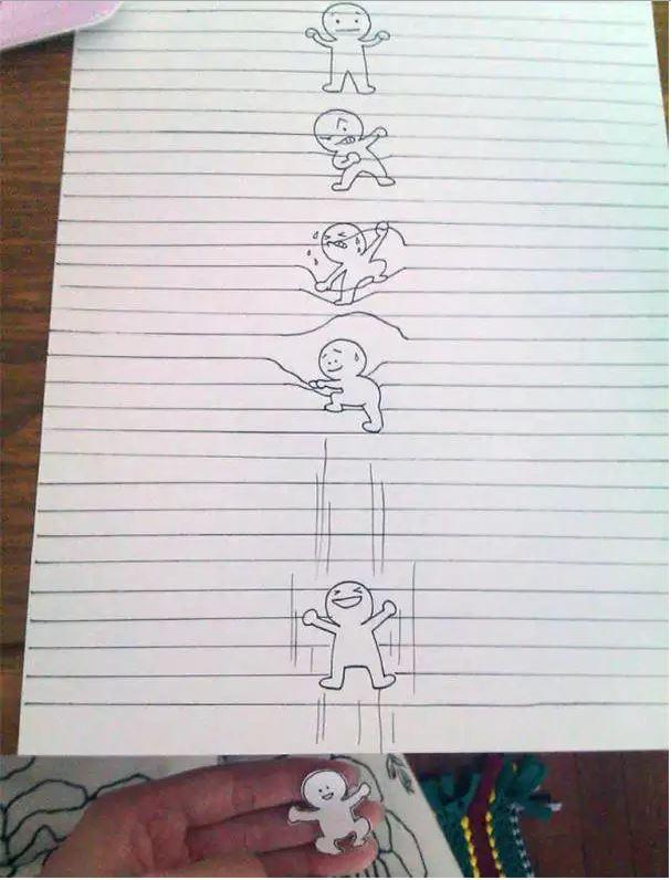 Drawn optical illusion lined paper Hub Drawing 5 illusion