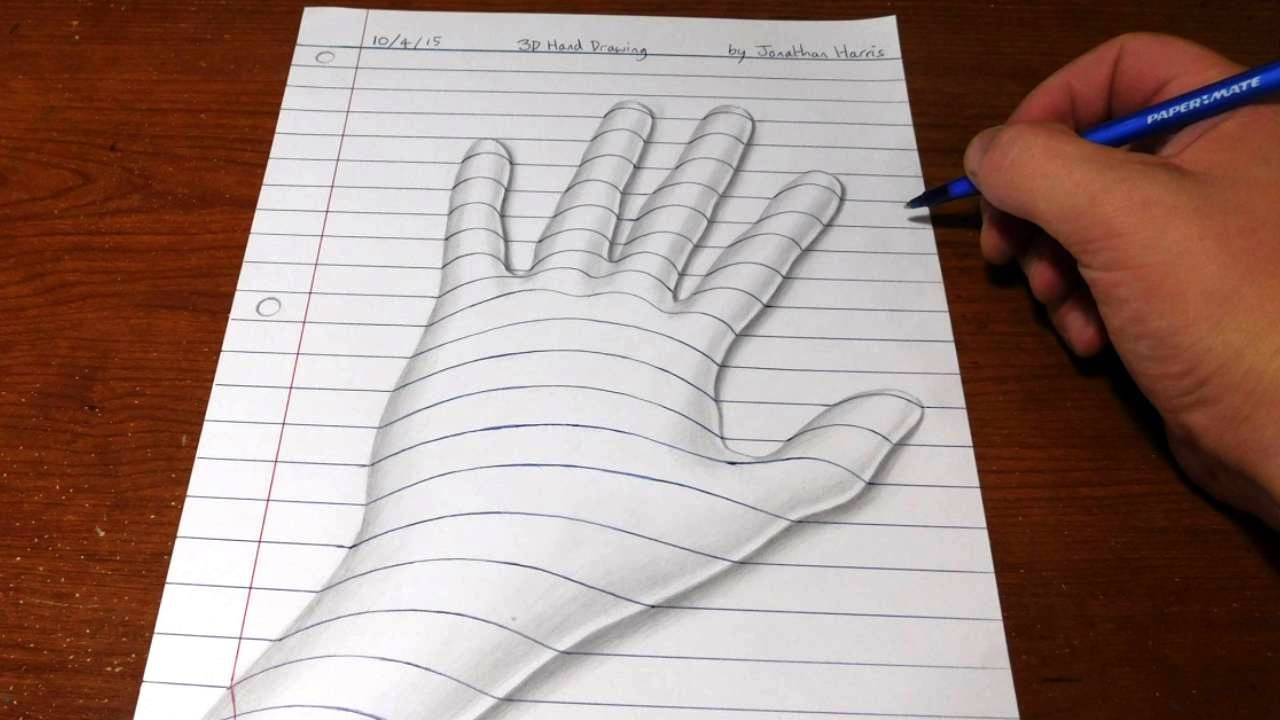 Drawn paper drawing 3d YouTube to 3D Art Illusion
