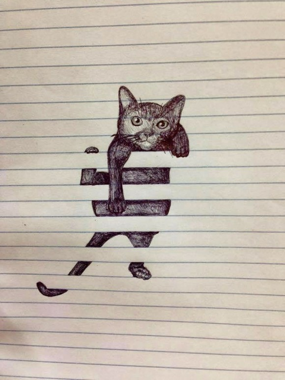 Drawn optical illusion lined paper Lined Cat  Paper Illusion