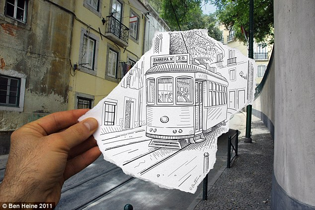 Drawn optical illusion meets Street fashioned Reality a Incredible