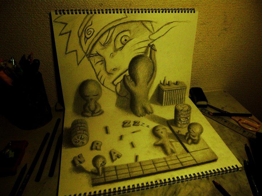 Drawn optical illusion naruto Bogdan  3D Magazine Top