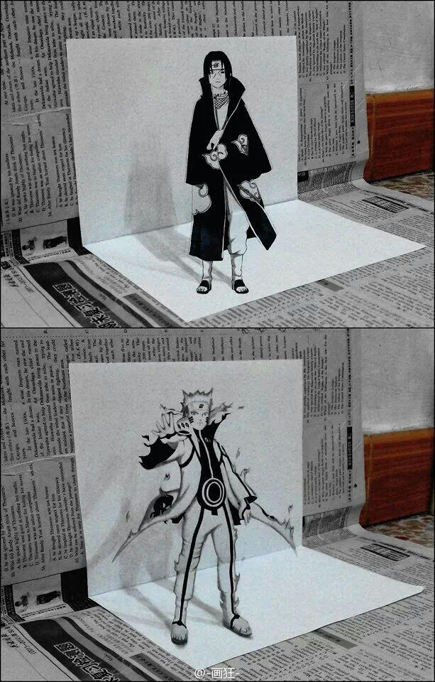 Drawn optical illusion naruto Naruto  Mal drawings 3d
