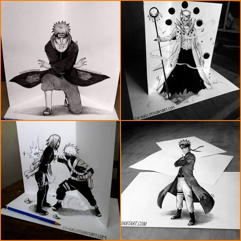 Drawn optical illusion naruto If Illustions page: Drawing 3D