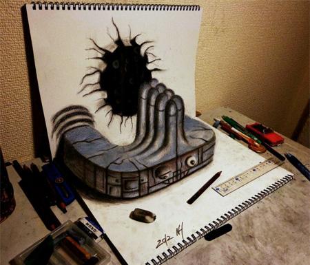 Drawn optical illusion naruto 3D 3D Illusion Drawings Drawings