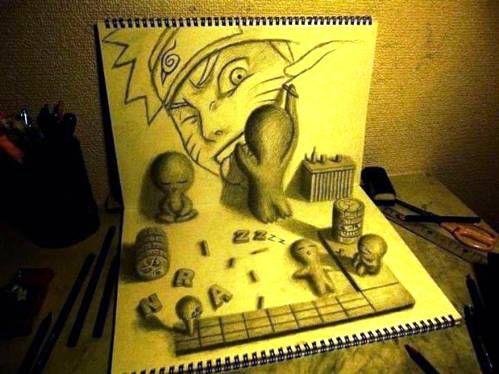 Drawn optical illusion naruto Naruto about on Tekeningen Drawing
