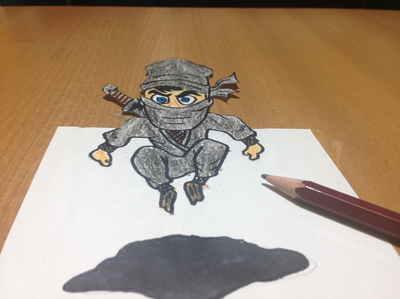 Drawn optical illusion ninja Ninja Time Ninja Drawing 3D