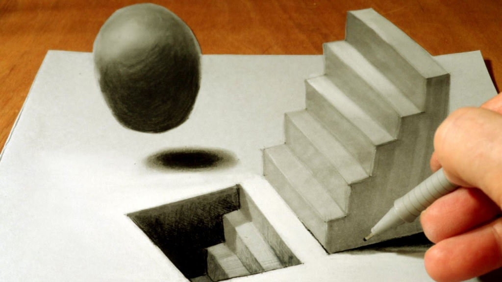 Drawn optical illusion ninja Drawing Drawing 3D 3D In