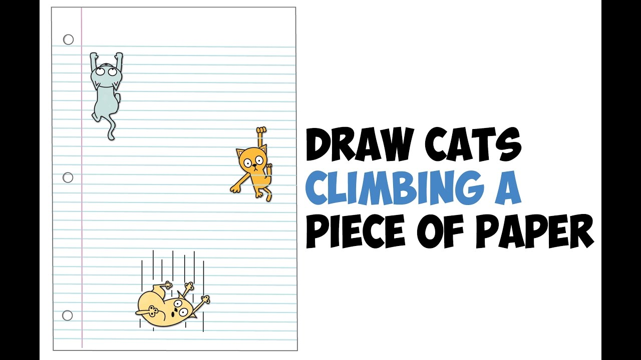 Drawn optical illusion notebook paper Cartoon Cats 3D by to