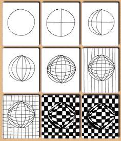 Drawn optical illusion op art Vasarely Optical Art Pinterest Victor
