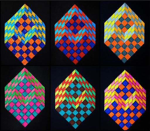 Drawn optical illusion optical design To on cube OP about