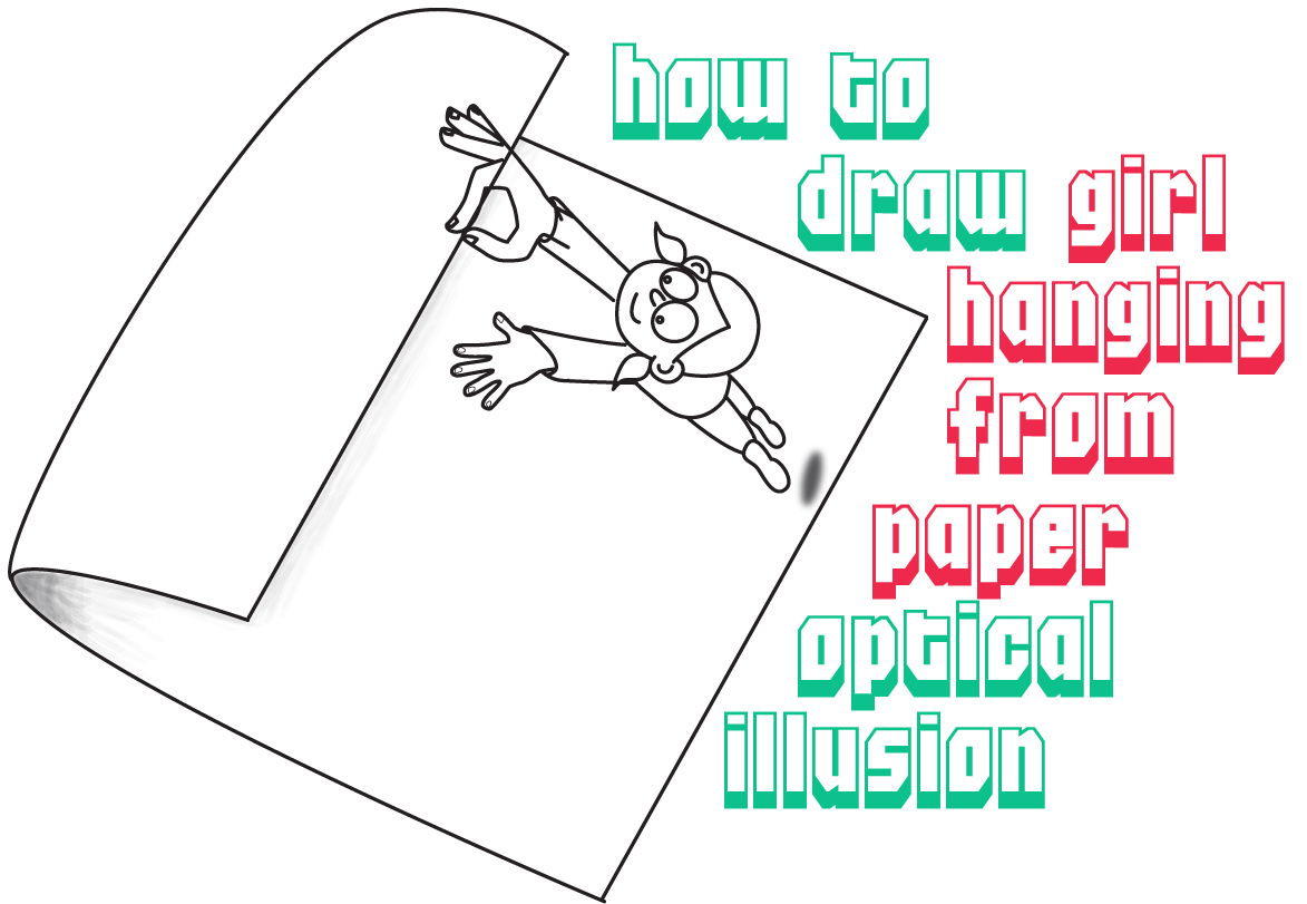 Drawn optical illusion paper for kid / Step Hanging Draw Tutorial