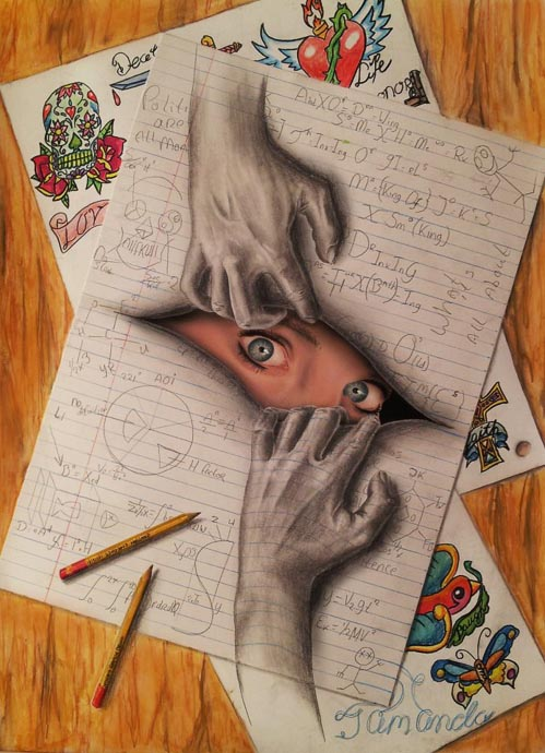 Drawn optical illusion paper for kid Drawing through optical person paper