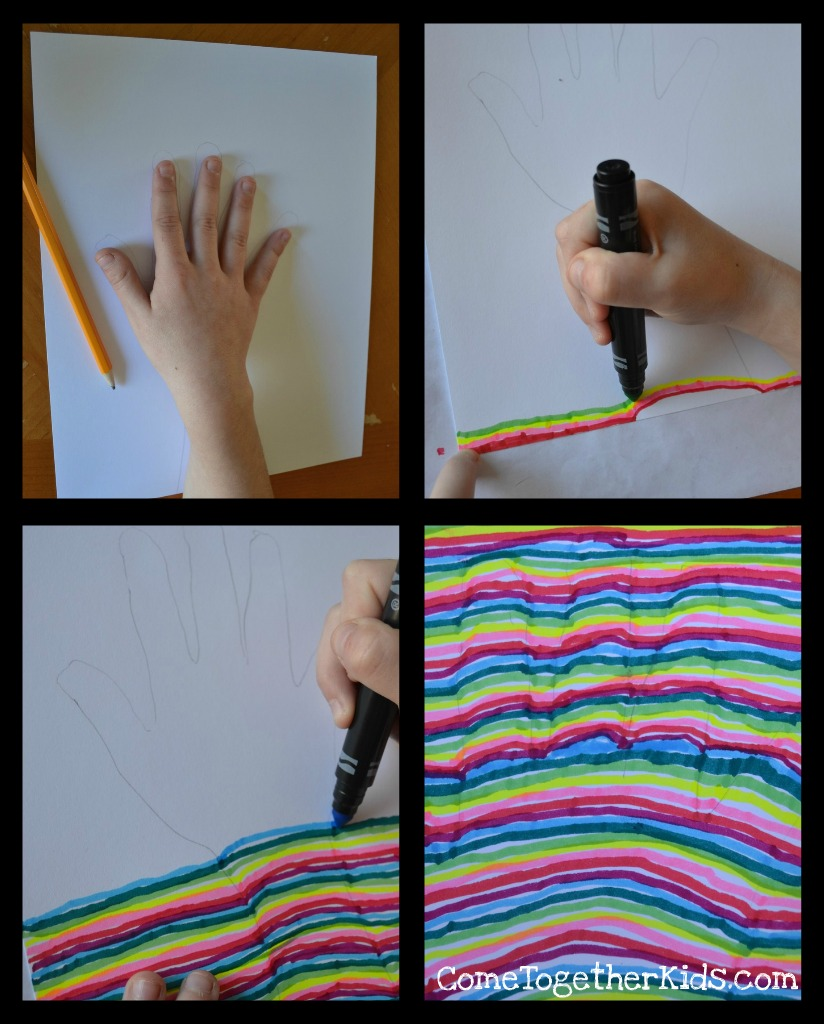 Drawn optical illusion paper for kid Optical Illusion Together Handprint Kids: