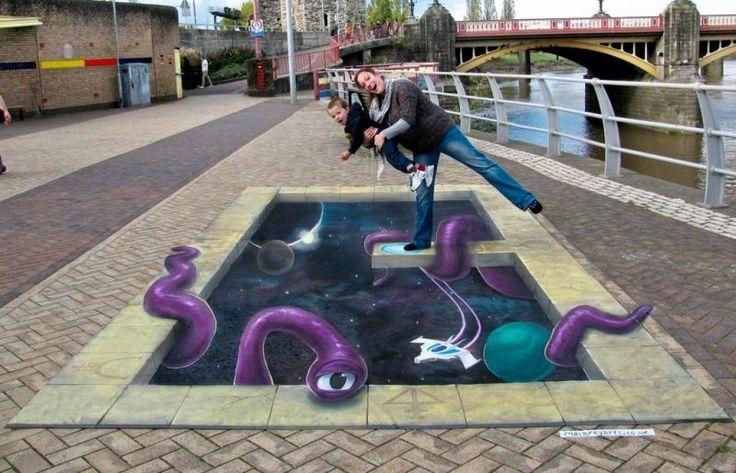 Drawn optical illusion pavement And chalk chalk Art