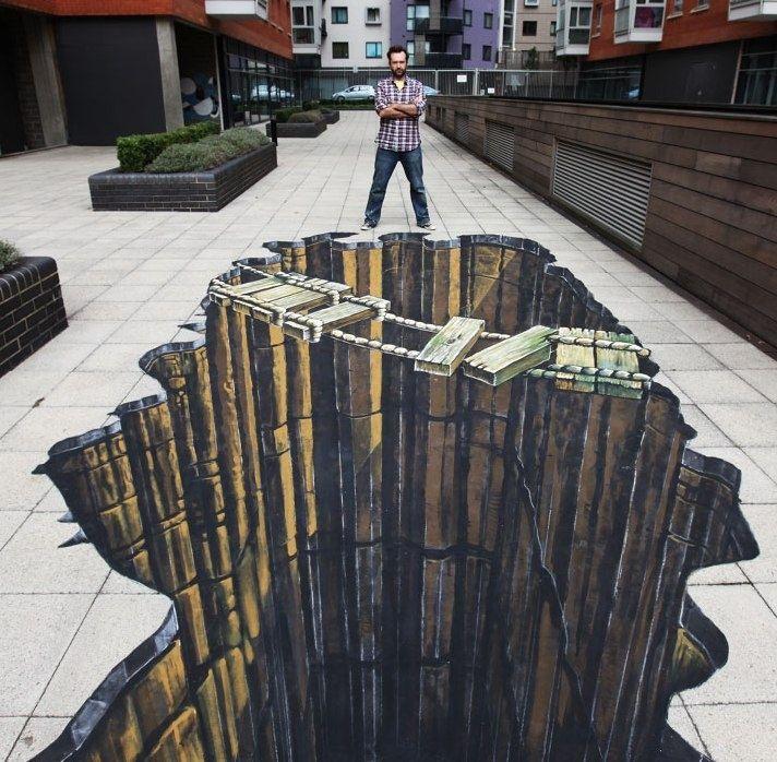 Drawn optical illusion pavement Melting on 3d drawing ideas