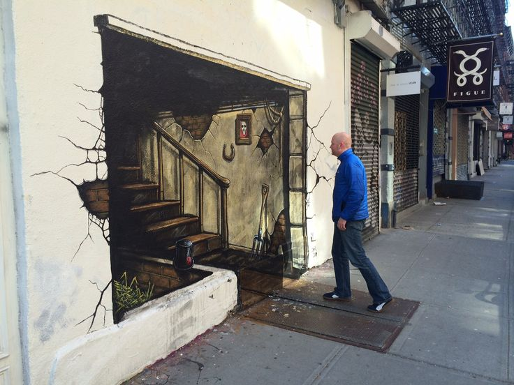 Drawn optical illusion pavement Street Murals images images Stunning