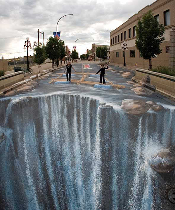 Drawn optical illusion pavement Pavement Illusions Optical Optical Optical