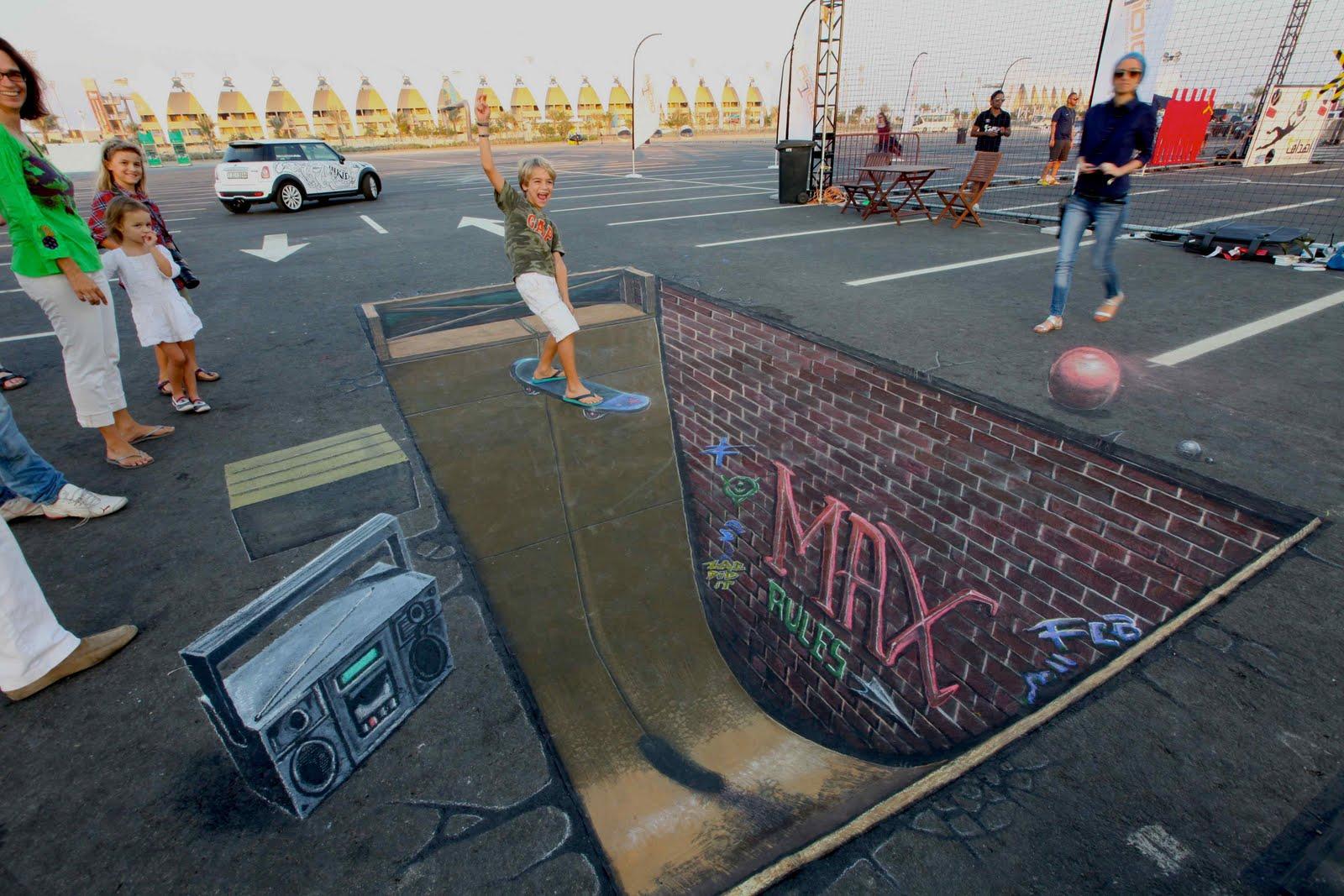 Drawn optical illusion pavement 3d 2 Art Art
