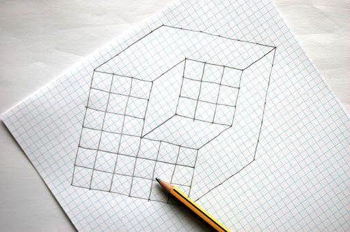 Drawn optical illusion pencil drawing рисунок cube 3d Pinterest Illusions