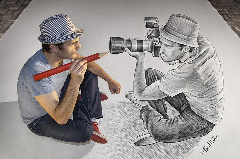 Drawn optical illusion person 19+ of Free & Illusion