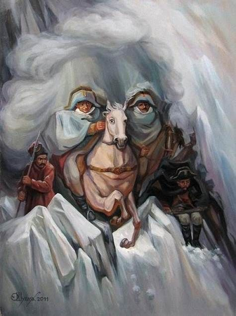 Drawn optical illusion person #mountains #old images about 23