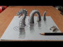 Drawn optical illusion perspective drawing 3D thumbnail Long Monster Ness