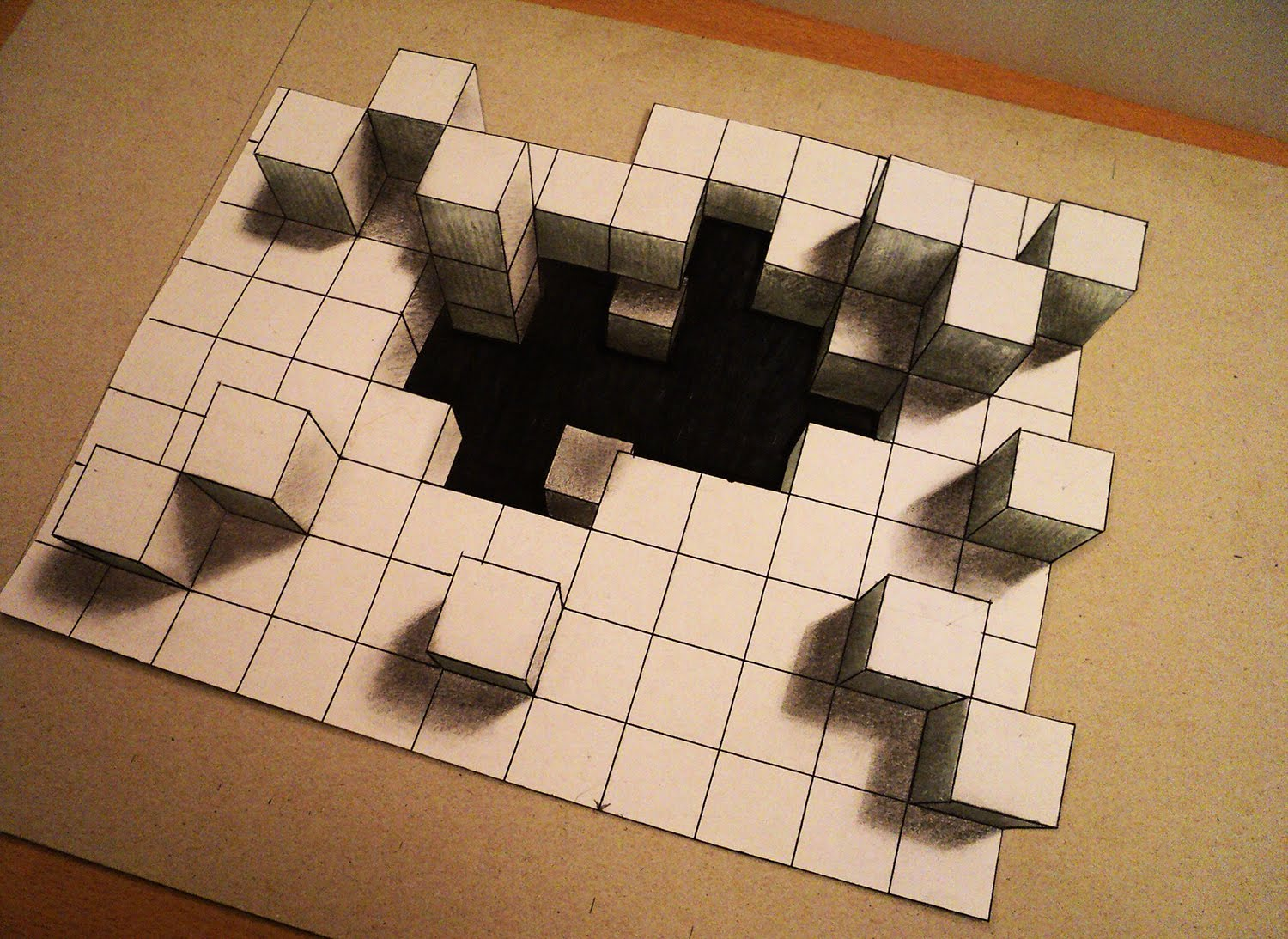 Drawn optical illusion perspective drawing How to one cubes 3d