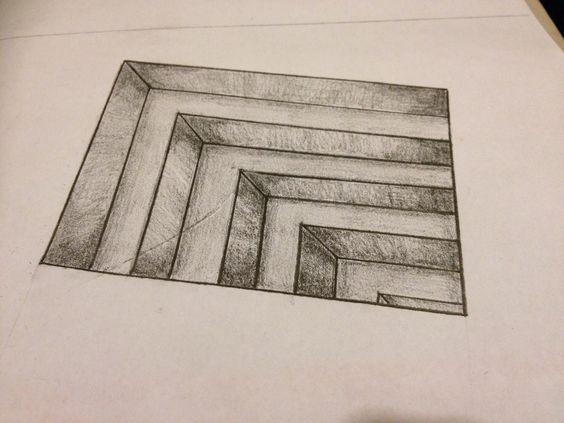 Drawn optical illusion random Best Cool Line Drawings Paper