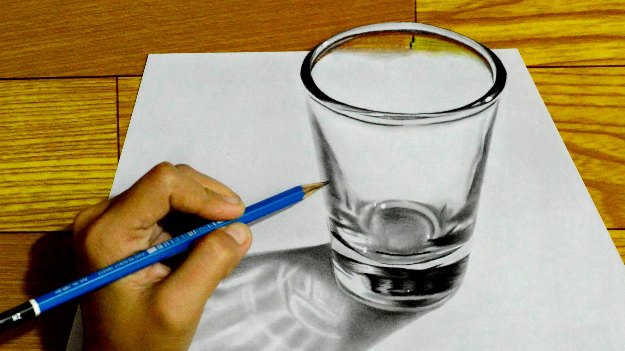 Drawn optical illusion realistic = Graphite 3D Optical 3D