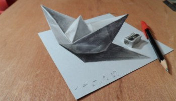 Drawn optical illusion realistic Illusion a by Ship by