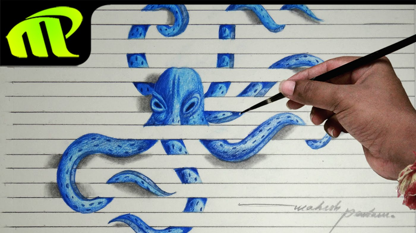 Drawn paper octopus Drawing Illusion Illusion Paper 3d