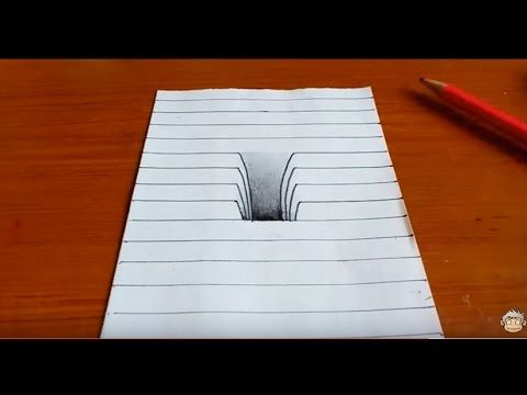 Drawn optical illusion ripped paper Best 25+ 3d on ideas
