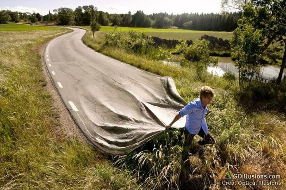 Drawn optical illusion road  Road Teasers Illusions Great