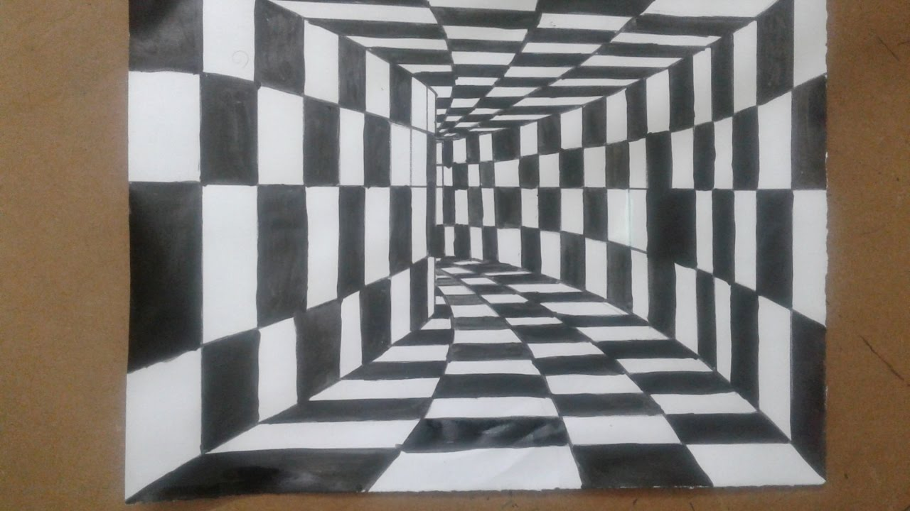 Drawn optical illusion room A Tunnel How Optical 3D