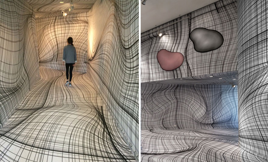 Drawn optical illusion room Optical Vertigo You Peter Kogler