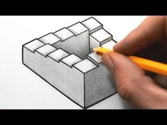 Drawn optical illusion shape Optical Impossible Drawing lessons cube