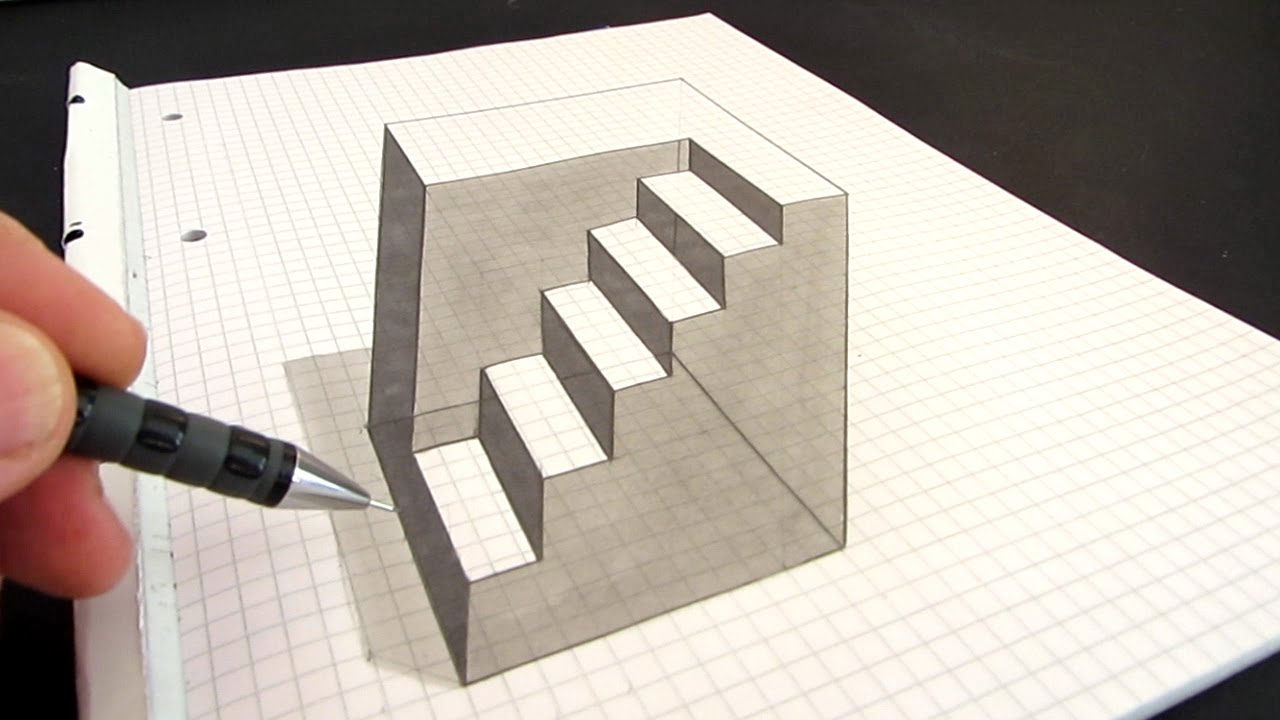 Drawn optical illusion simple Illusion to Cube: an Draw