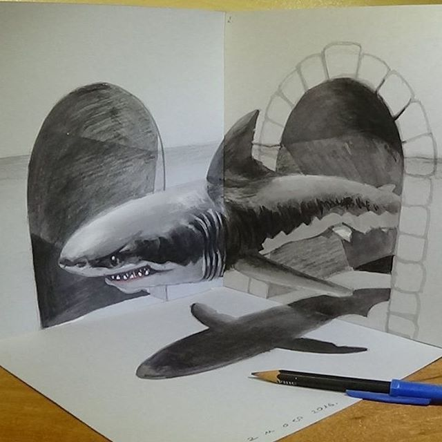Drawn optical illusion sketch Drawings 3D To Optical Illusions